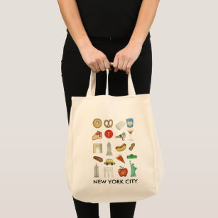 New York City NYC Trip Landmarks Icons Foods Tote Bag 94b6fff7f5