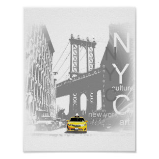 New York City Nyc Yellow Taxi Brooklyn Bridge Poster