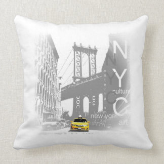 New York City Nyc Yellow Taxi Brooklyn Bridge Throw Pillow