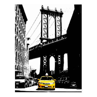 New York City Nyc Yellow Taxi Pop Art Postcard