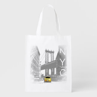 New York City Nyc Yellow Taxi Pop Art Reusable Grocery Bag