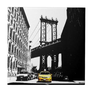 New York City Nyc Yellow Taxi Pop Art Tile