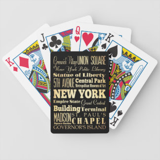 New York City of New York State Typography Art Bicycle Playing Cards