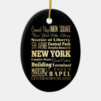 New York City of New York State Typography Art Double-Sided Oval Ceramic Christmas Ornament