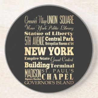 New York City of New York State Typography Art Drink Coaster