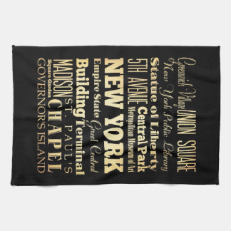 New York City of New York State Typography Art Kitchen Towels