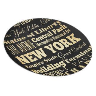 New York City of New York State Typography Art Melamine Plate