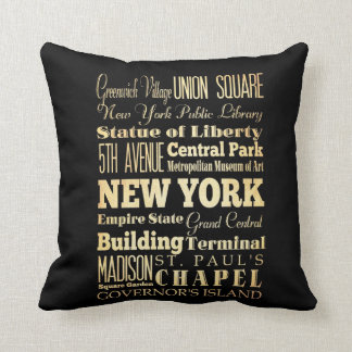 New York City of New York State Typography Art Throw Pillow