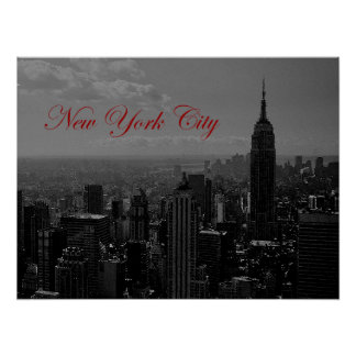 New York City Old Script Poster Print