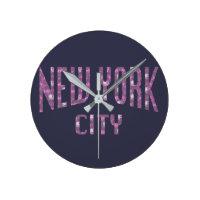 New York City on Spring Pink Rose Round Clock