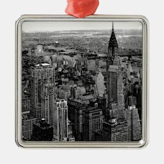 New York City Square Metal Christmas Ornament