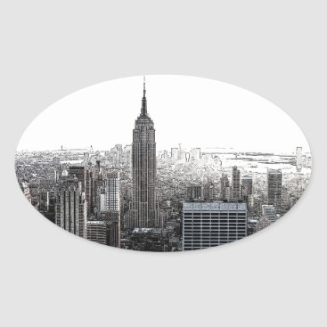 USA Themed New York City Oval Sticker