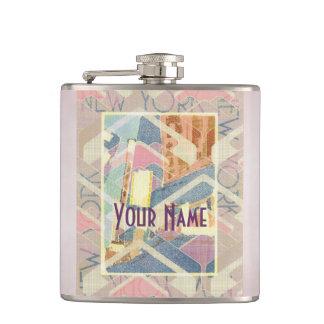 New York City Pastel Tones Times Square Art Deco Flask