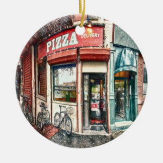 New York City Pizza Place by Shawna Mac Ceramic Ornament