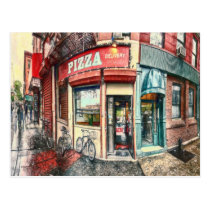 New York City Pizza Place by Shawna Mac Postcard