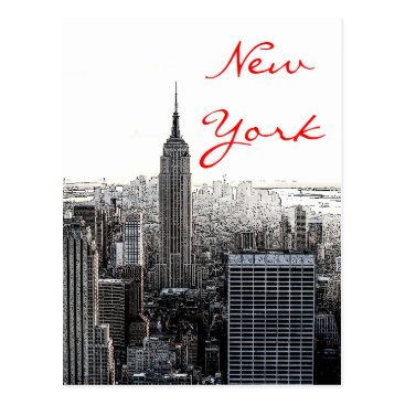 USA Themed New York City Pop Art Script Postcard
