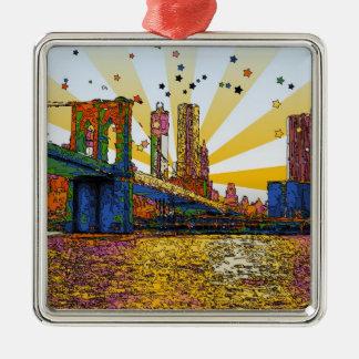 New York City psicodélico Puente de Brooklyn WTC Ornamentos De Reyes Magos