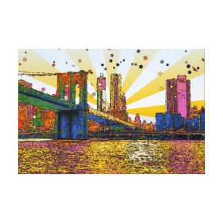 New York City psicodélico: Puente de Brooklyn, WTC Lona Estirada Galerias