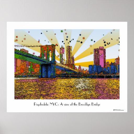 New York City psicodélico: Puente de Brooklyn, WTC Póster