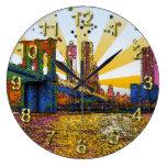 New York City psicodélico: Puente de Brooklyn, WTC Relojes De Pared