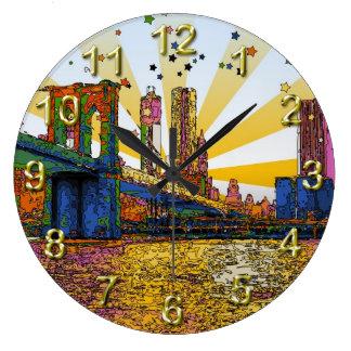 New York City psicodélico: Puente de Brooklyn, WTC Reloj Redondo Grande