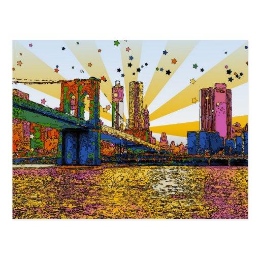 New York City psicodélico: Puente de Brooklyn, WTC Tarjetas Postales