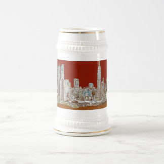 New York city red sepia 18 Oz Beer Stein