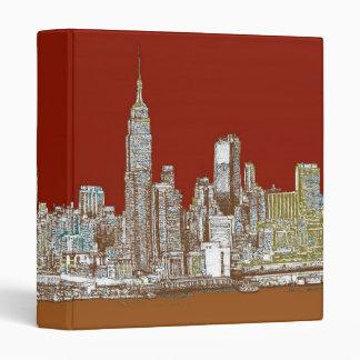 New York city red sepia 3 Ring Binder