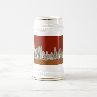 New York city red sepia Beer Stein
