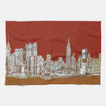 New York city red sepia Hand Towel