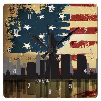 New York City, reloj americano del paisaje urbano