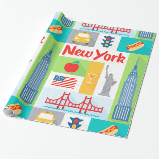 new york city retro gift wrapping paper