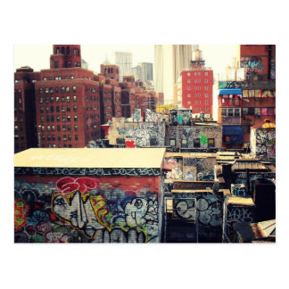 New York City Rooftops Covered in Graffiti Postcards