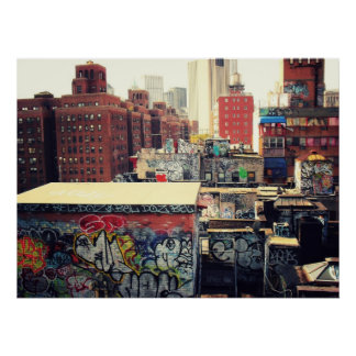 New York City Rooftops Covered in Graffiti Poster