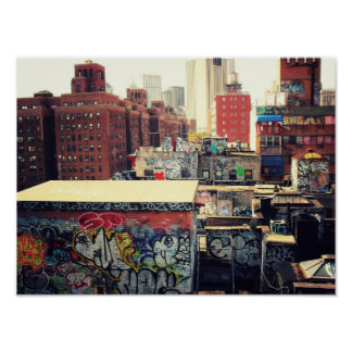 New York City Rooftops Covered in Graffiti, Small Poster