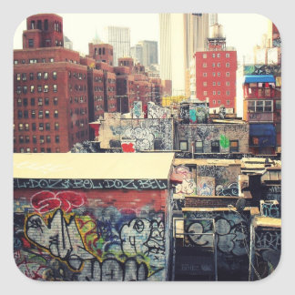 New York City Rooftops Covered in Graffiti Square Stickers