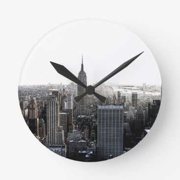 USA Themed New York City Round Clock