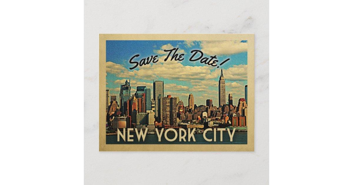 Central Park Save the Date Postcard  New York City Save the Dates Vintage Manhattan Skyline Fun Unique Wedding Invitations NYC