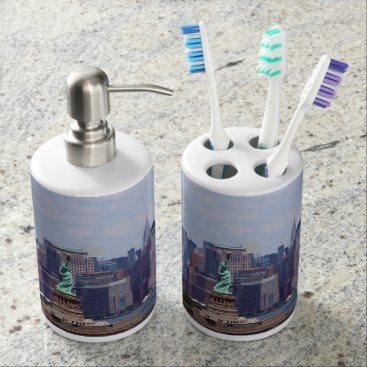 USA Themed New York City Scape with Statue of Liberty Soap Dispenser & Toothbrush Holder