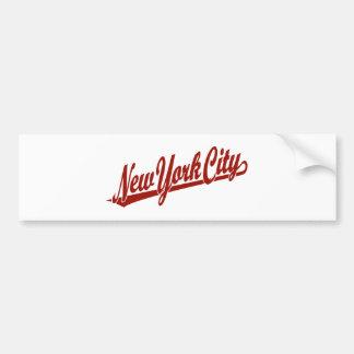 New York City script logo in red Bumper Sticker