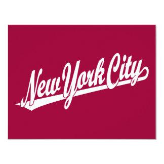 New York City script logo in white Card
