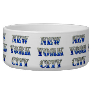 New York City Silver Blue Glitters Bowl