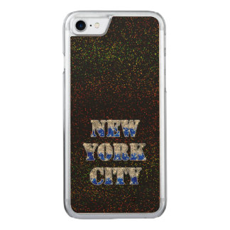 New York City Silver Blue Glitters Carved iPhone 7 Case
