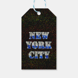 New York City Silver Blue Glitters Gift Tags