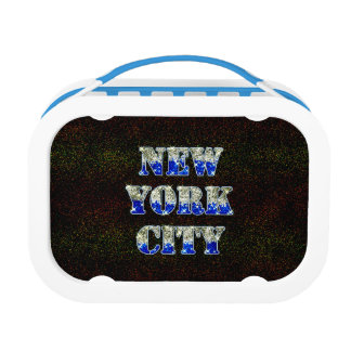 New York City Silver Blue Glitters Lunch Box