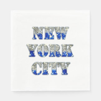 New York City Silver Blue Glitters Napkin