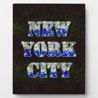 New York City Silver Blue Glitters Plaque