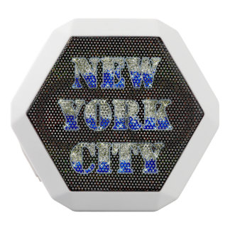 New York City Silver Blue Glitters White Bluetooth Speaker