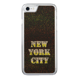 New York City Silver Gold Glitters Carved iPhone 7 Case