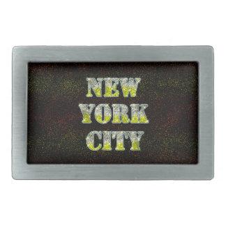 New York City Silver Gold Glitters Rectangular Belt Buckle